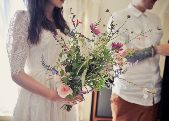 intimate-yacht-wedding-wild-flower-bouquet