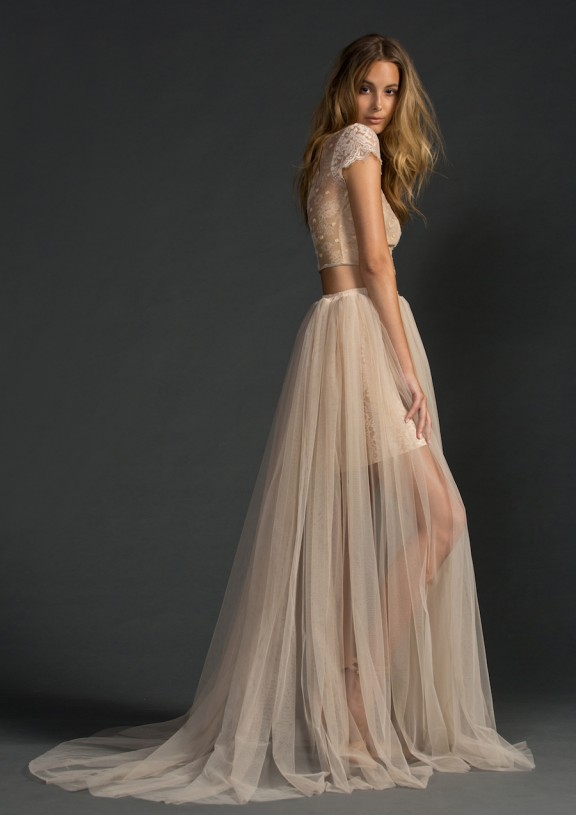 Blush two-piece wedding dress by Grace Loves Lace