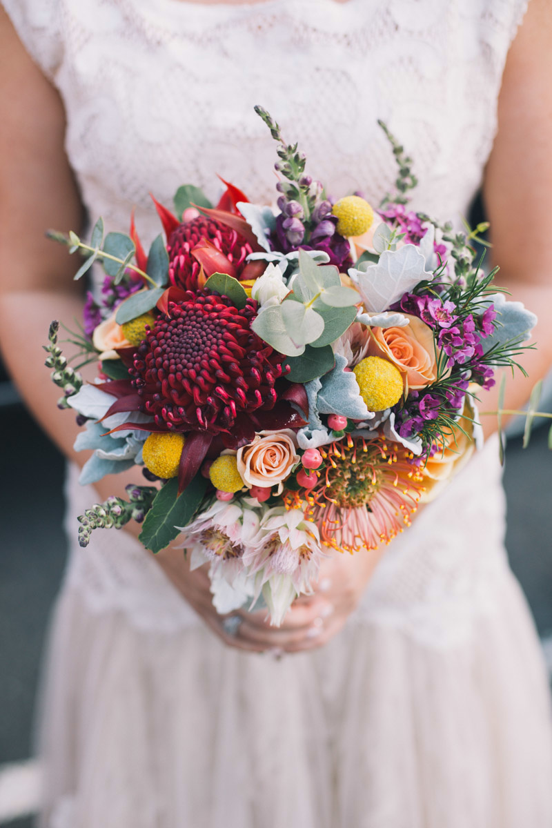 Best Wedding Gift Ideas Australia : Colourful waratah wedding bouquet with Australian native flowers ...