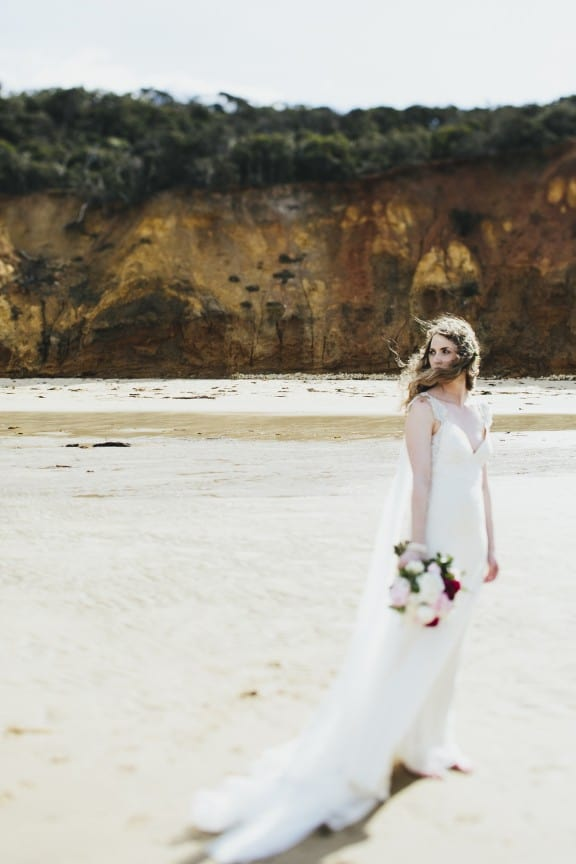 Pallas Couture wedding dress | Surf Coast beach wedding by Love Katie & Sarah