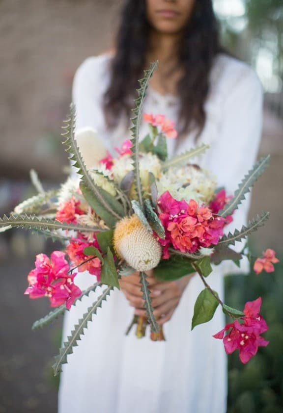 bougainvillea and banksia bouquet