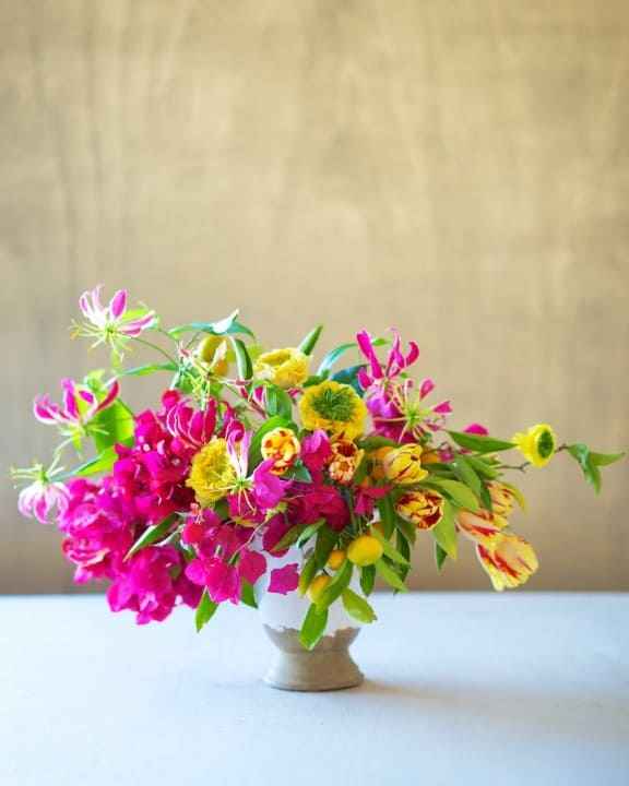 Vibrant bougainvillea arrangement by Tulipina