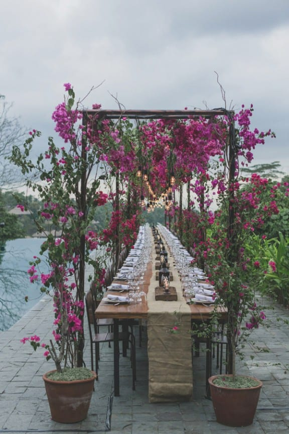 bougainvillea table chandeliers | Photo by Jonas Peterson