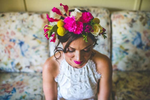 Flower crown by Gypsy Flora | Jess & Nick's Colourful Bush Bank Wedding | Photography by The Evoke Company