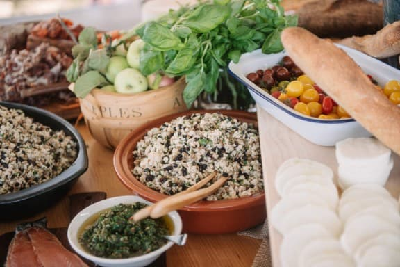 Mediterranean grazing table | Photography by Jonathan Wherrett