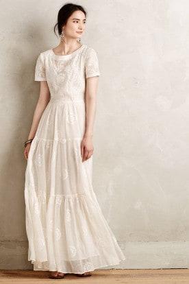 Anthropologie Embroidered Lera Maxi Dress | Best wedding dresses under $1000