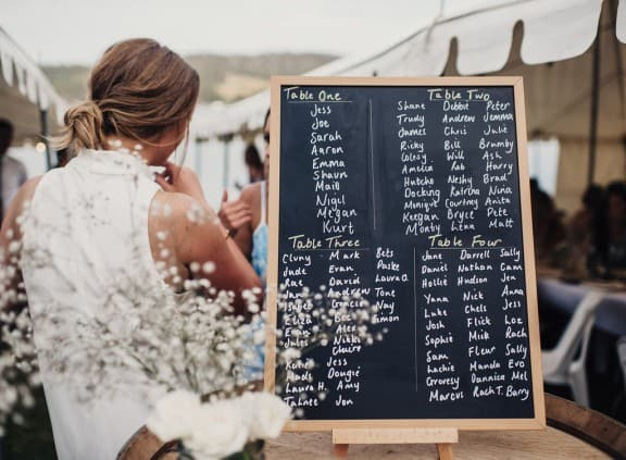 Chalk board seating planner | Photography by Fiona Vail
