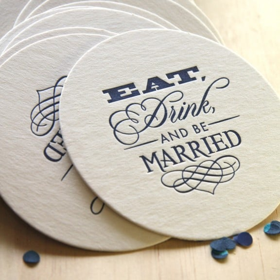 Eat Drink and Be Married letterpress coasters | Top Australian Etsy Stores for Weddings