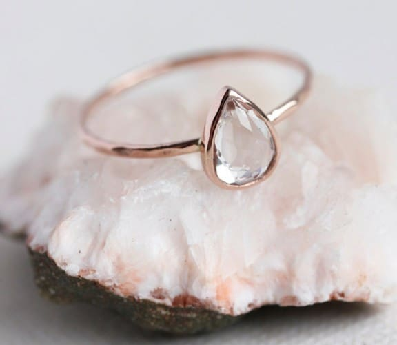 White topaz gold ring | Top Australian Etsy Stores for Weddings