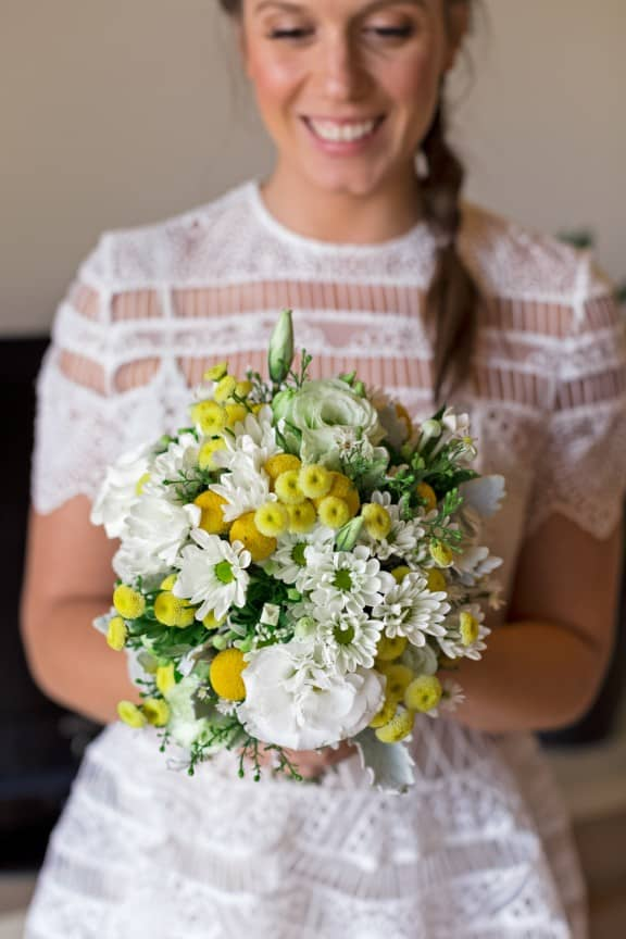 Yellow and white bouquet by Fowlers Flowers