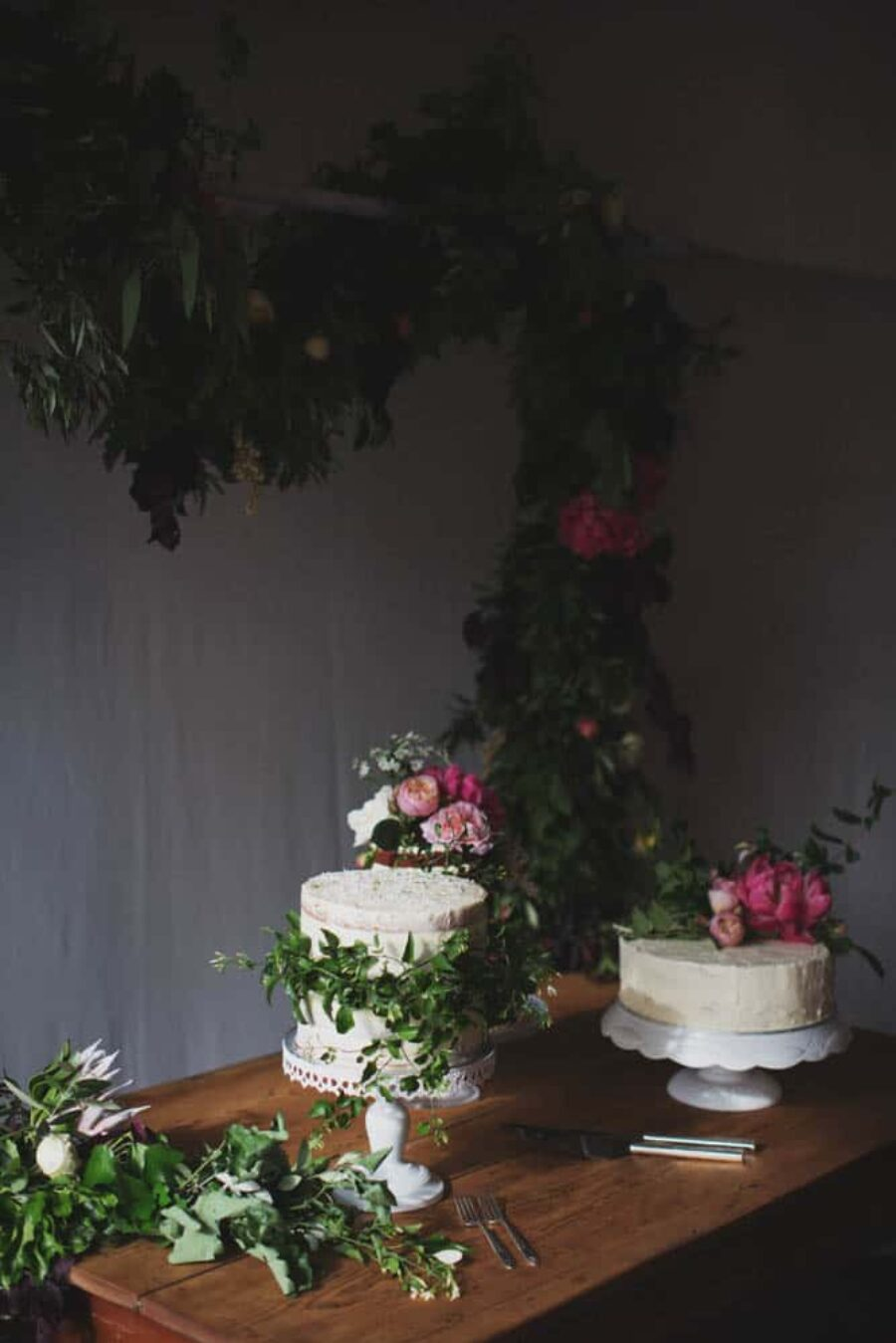wedding cake buffet with fresh flowers