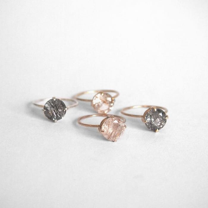 Unique engagement rings by Australian jewelers / rutilated quartz ring by Natalie Marie