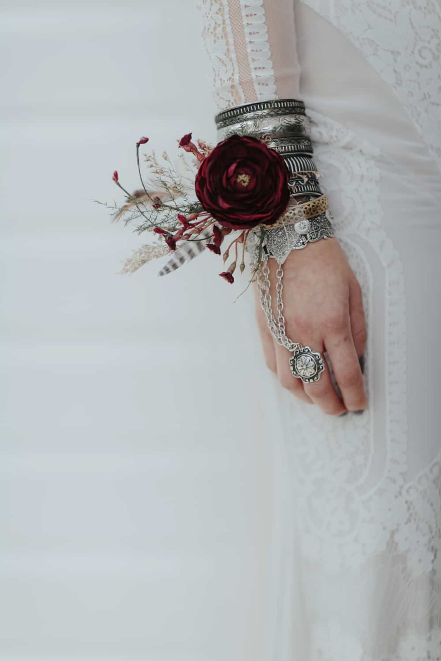 boho bride with wrist corsage