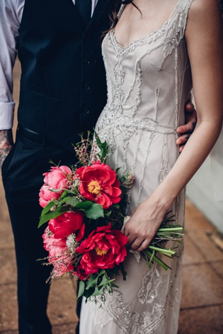 Beaded wedding dress by Gwendolynne / Pink peony bouquet