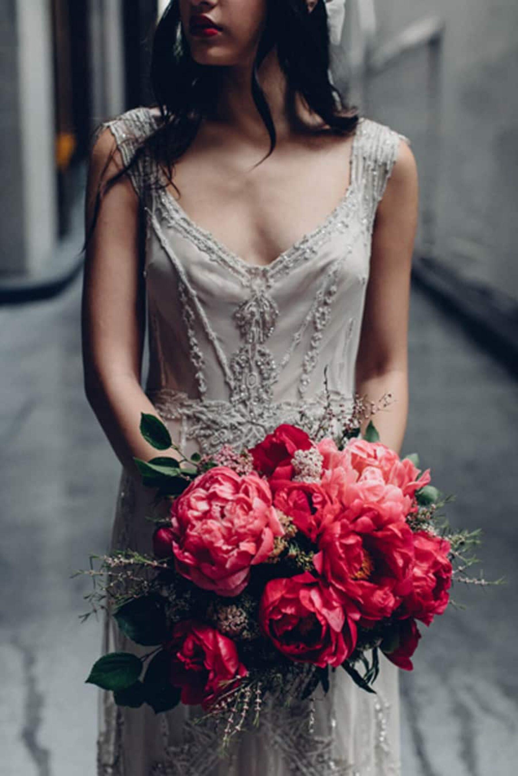 Beaded wedding dress by Gwendolynne