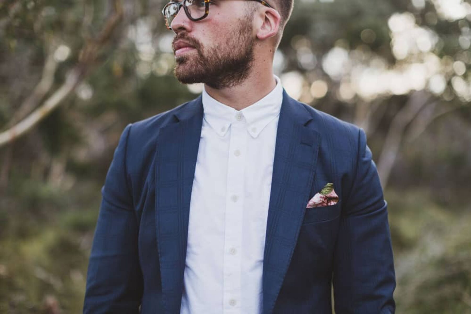 hipster groom / Will Valor navy suit