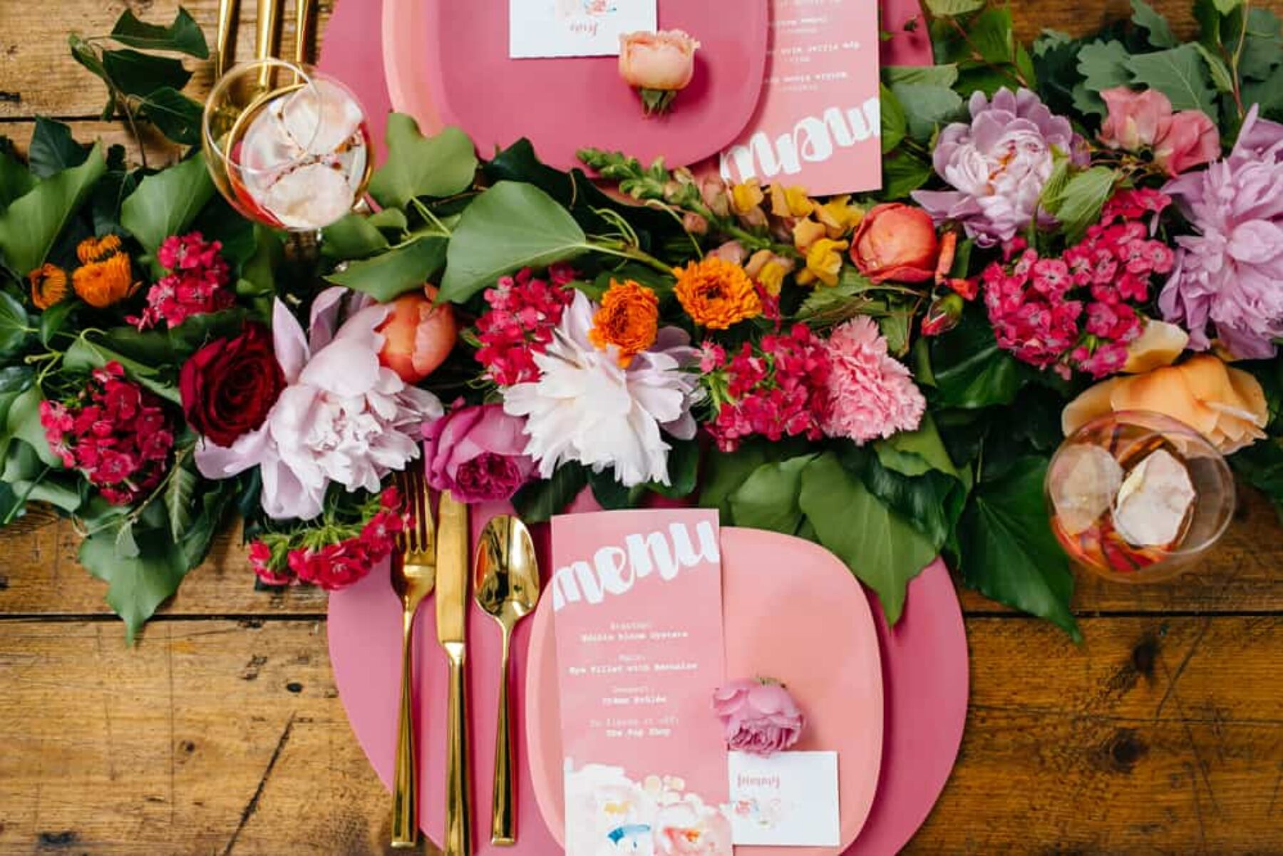 colourful floral tablescape