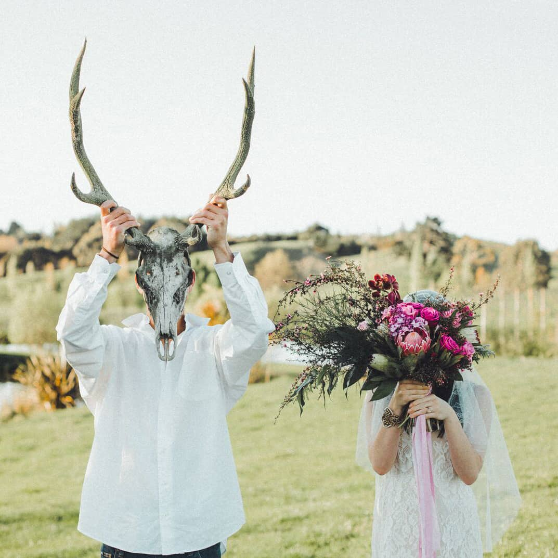 boho wedding deer skull