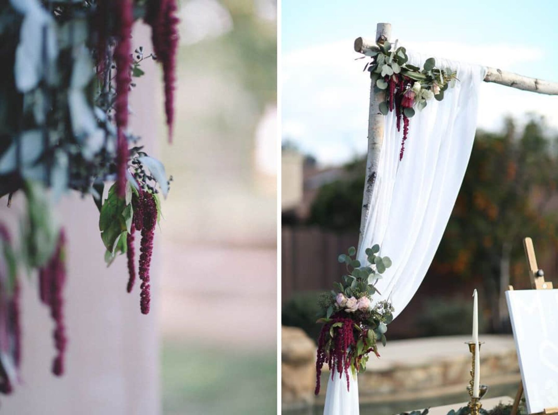 amaranthus wedding arch