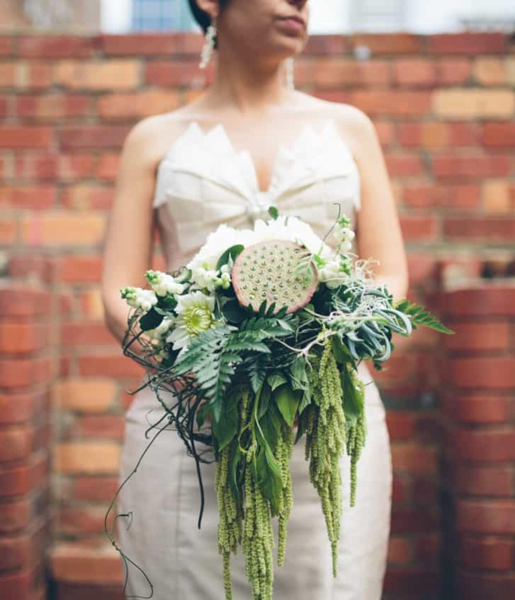 green amaranthus and lotus pod bouquet