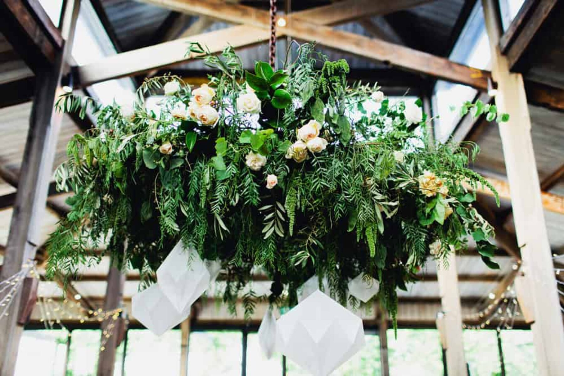 wedding foliage chandelier