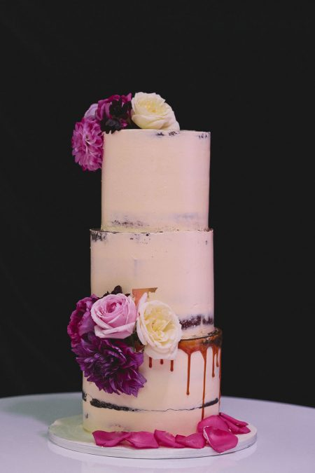 modern semi naked wedding cake