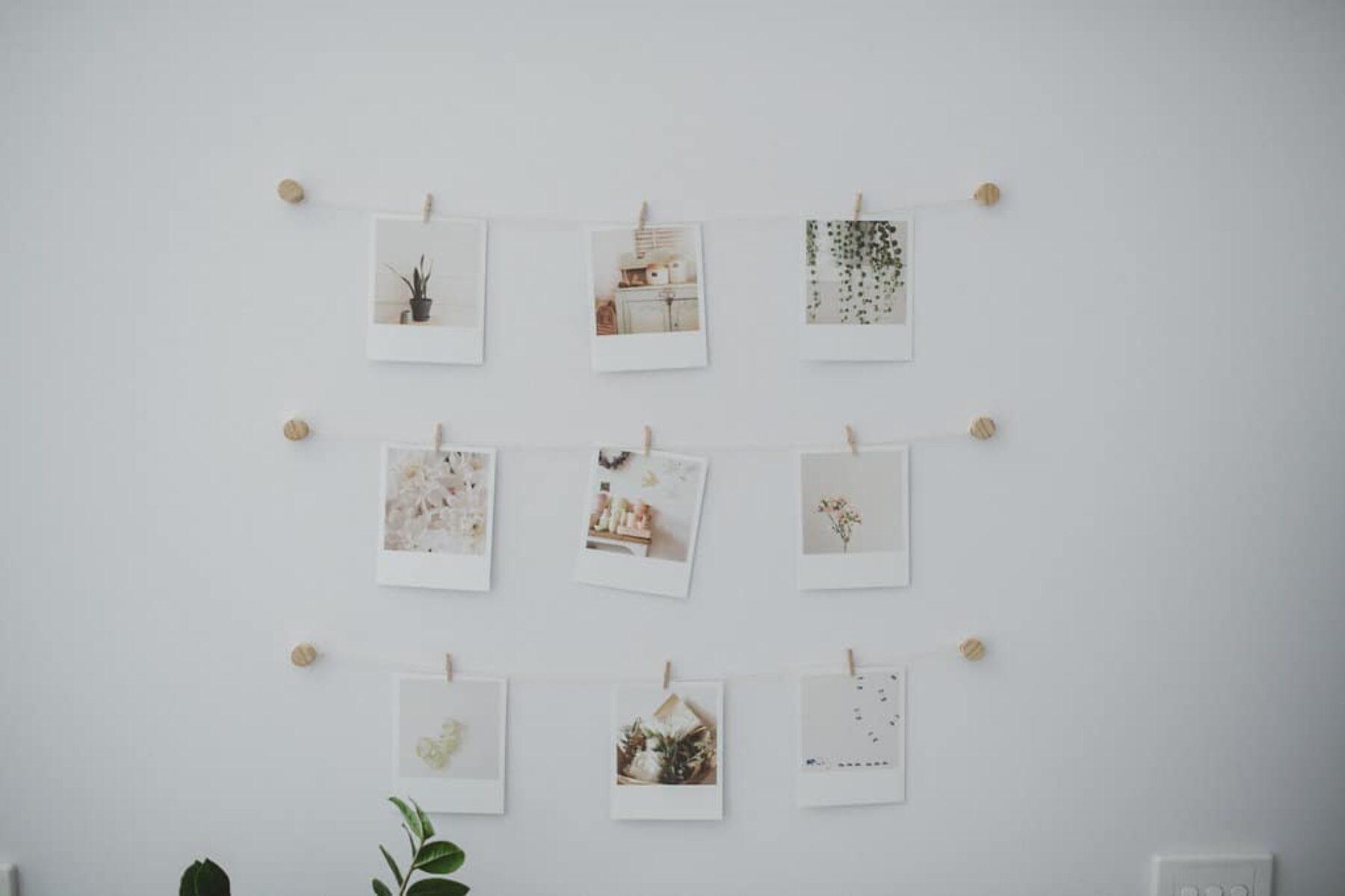 pegged polaroid wall display