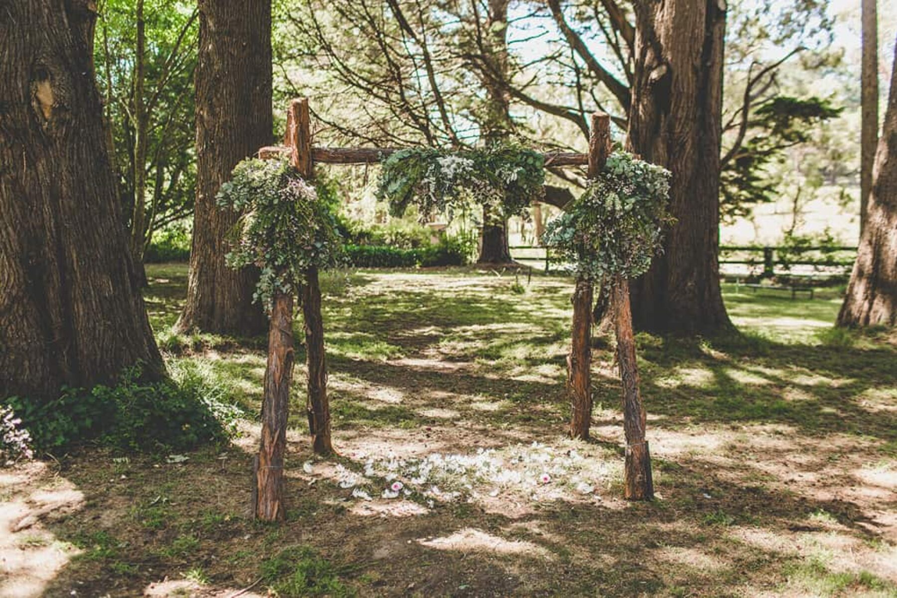 timber arbour with foliage