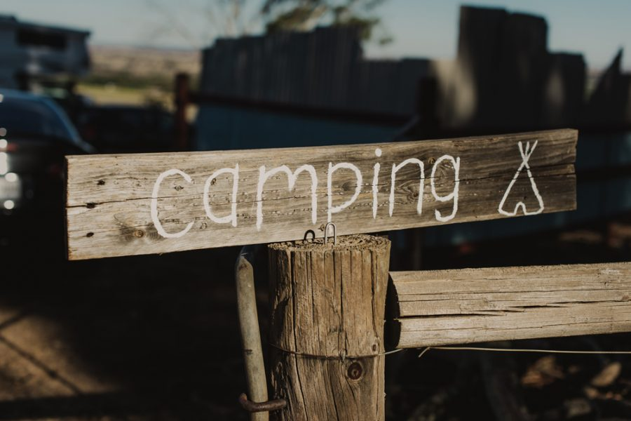 camping sign for festival wedding