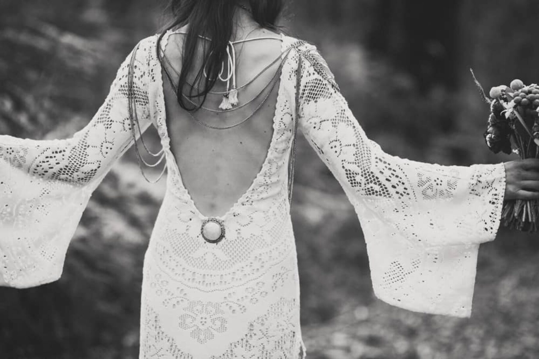 boho backless wedding dress by Spell
