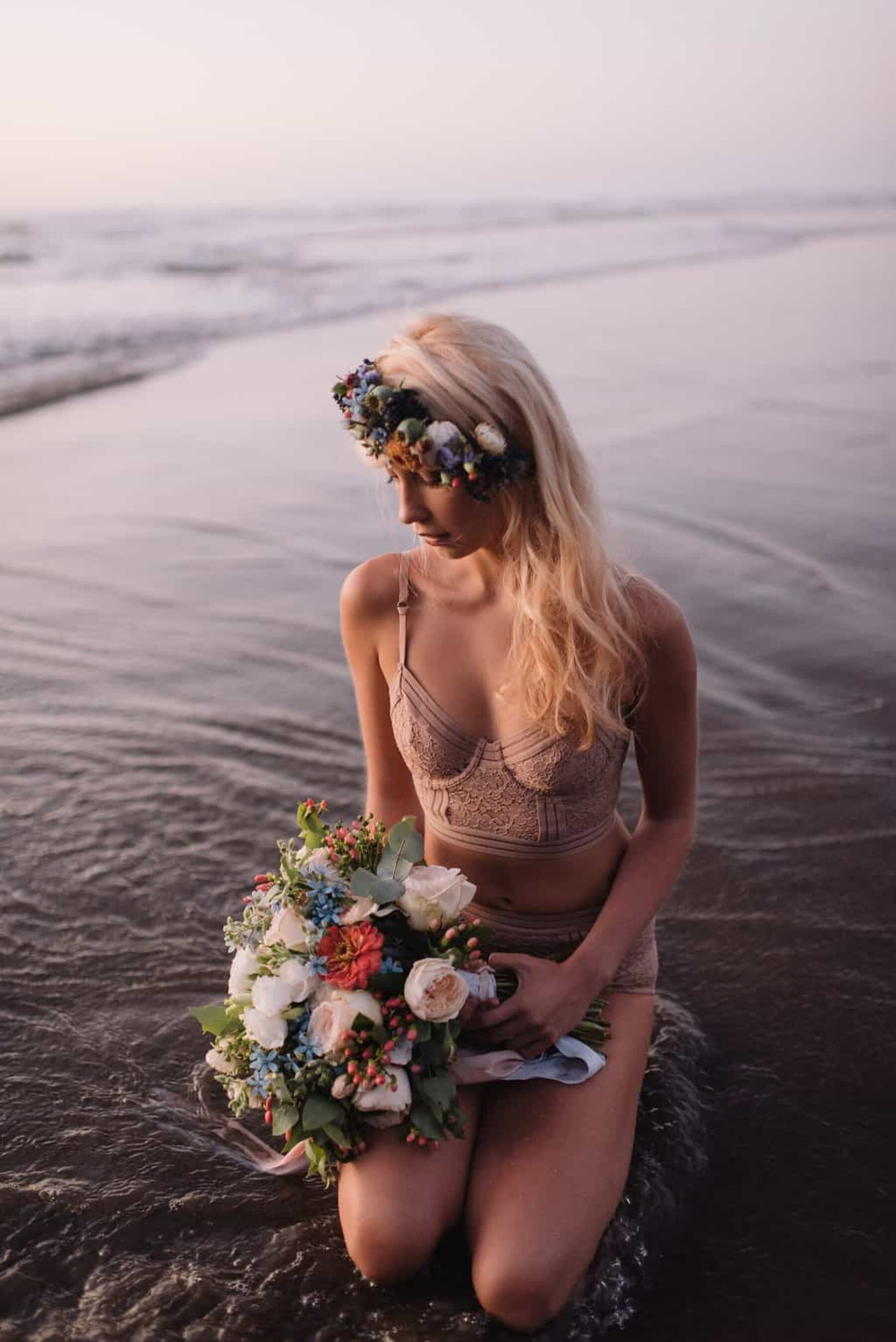 Bohemian beach wedding editorial by Nisha Ravji