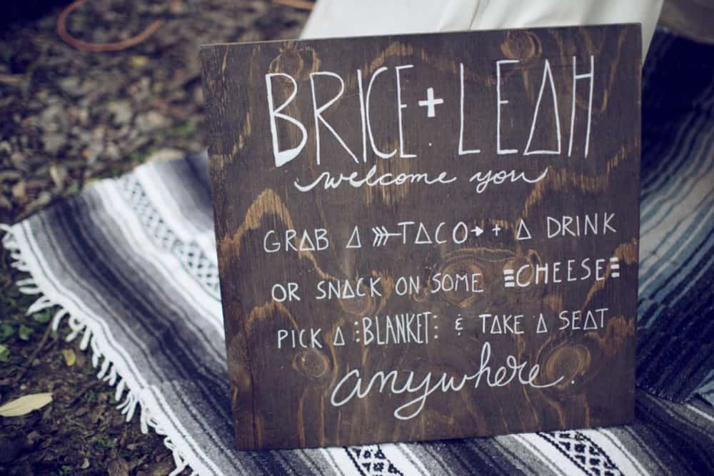 DIY boho timber wedding sign