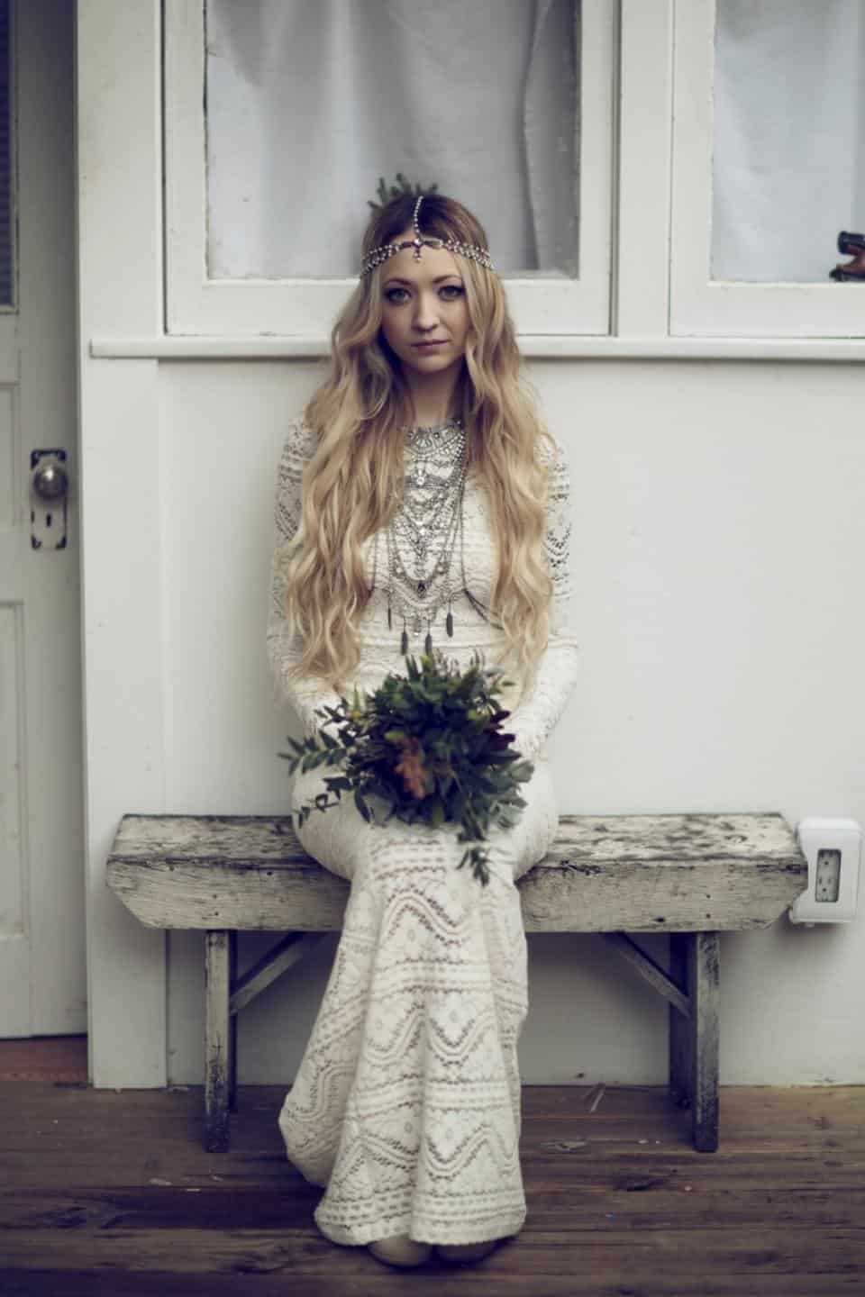 boho bride wearing Bona Drag wedding dress