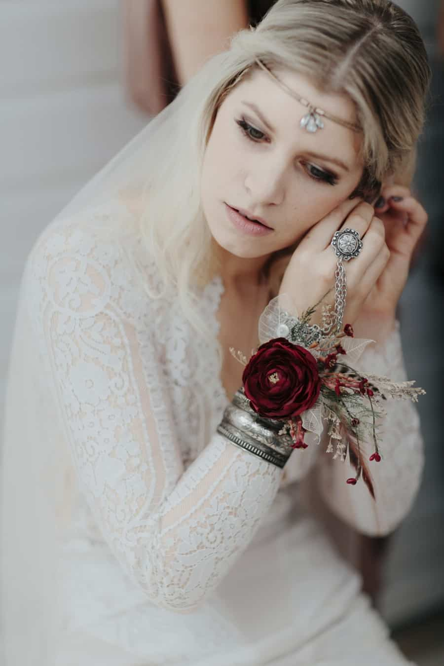 bohemian bride with ornate cuff | Photography by Oli Sansom