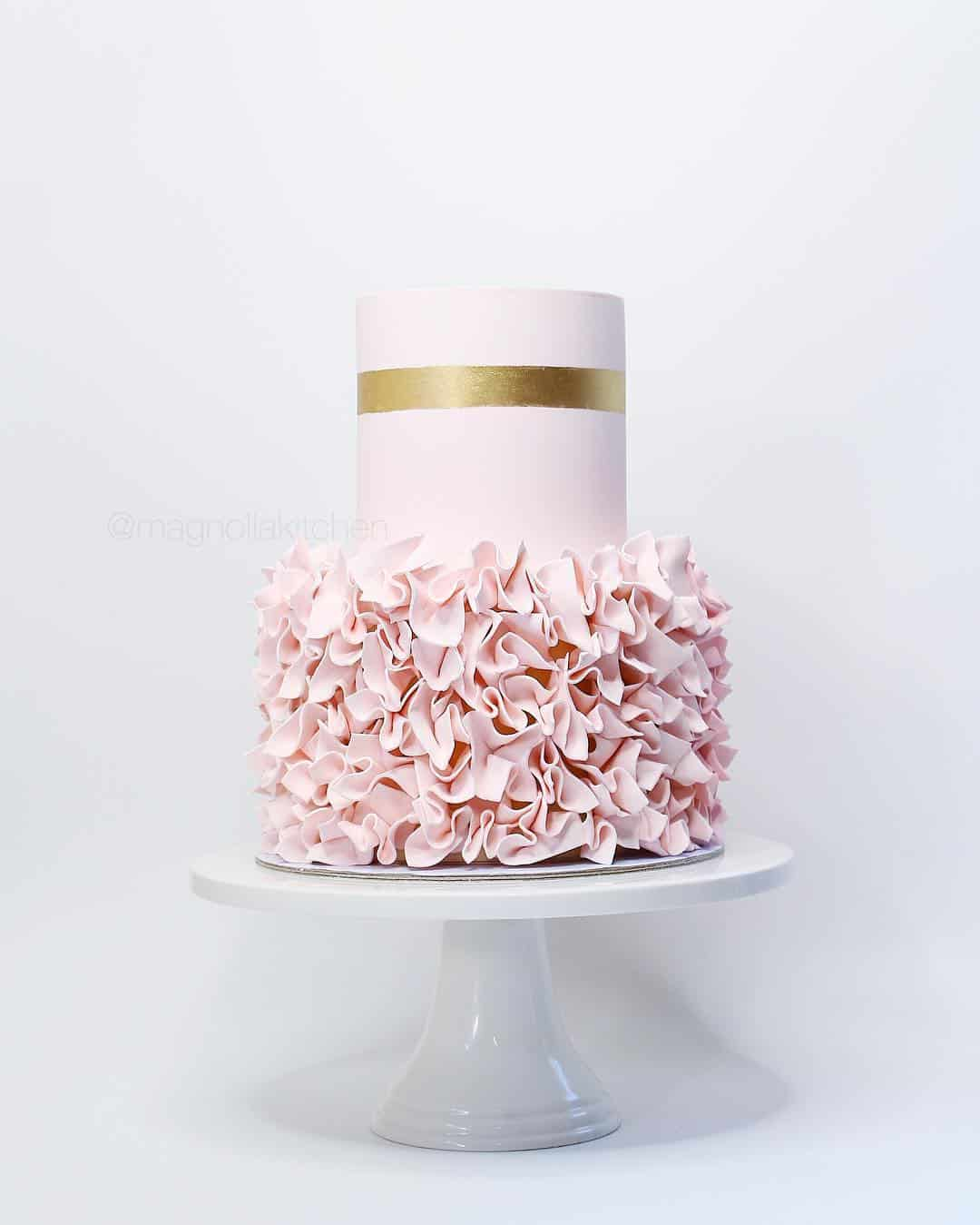 modern pink ruffle cake by Auckland baker Magnolia Kitchen @magnoliakitchen