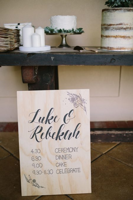hand-lettered timber wedding sign