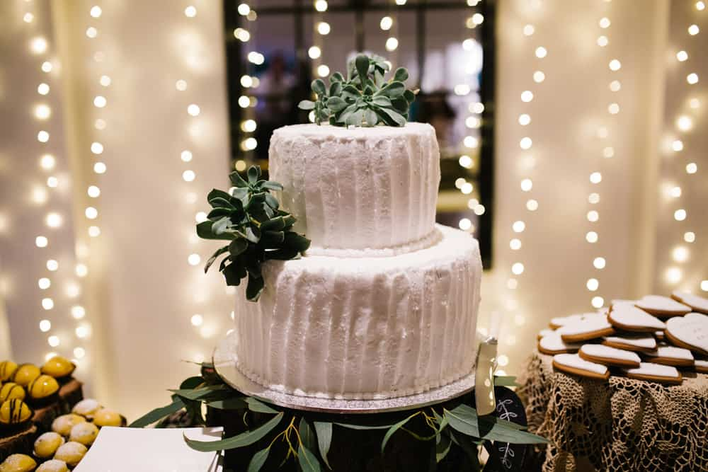 Homemade Wedding Cake With Succulent Topper