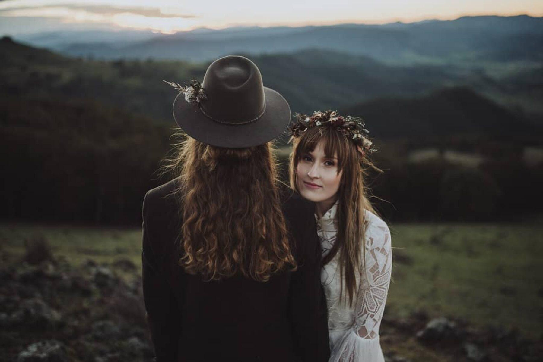 Bohemian bride with folky groom