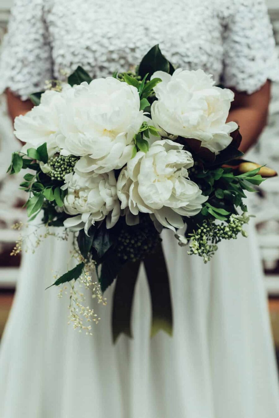 green and white peony bouquet