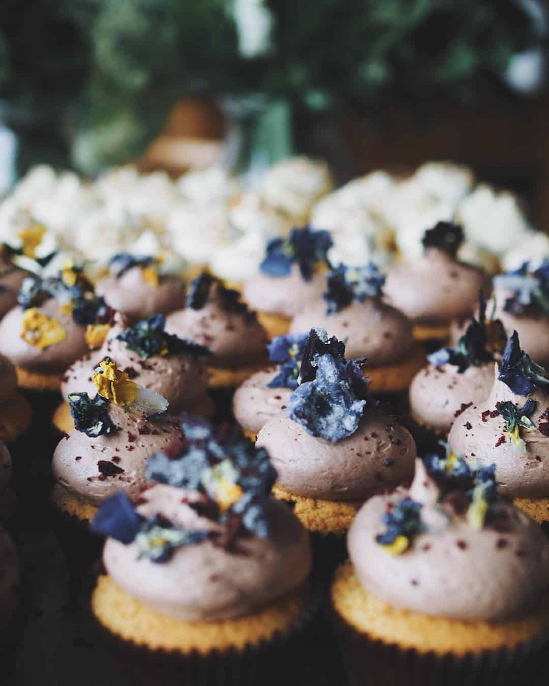 Chocolate cupcakes, butter cream frosting and the prettiest sugared flowers