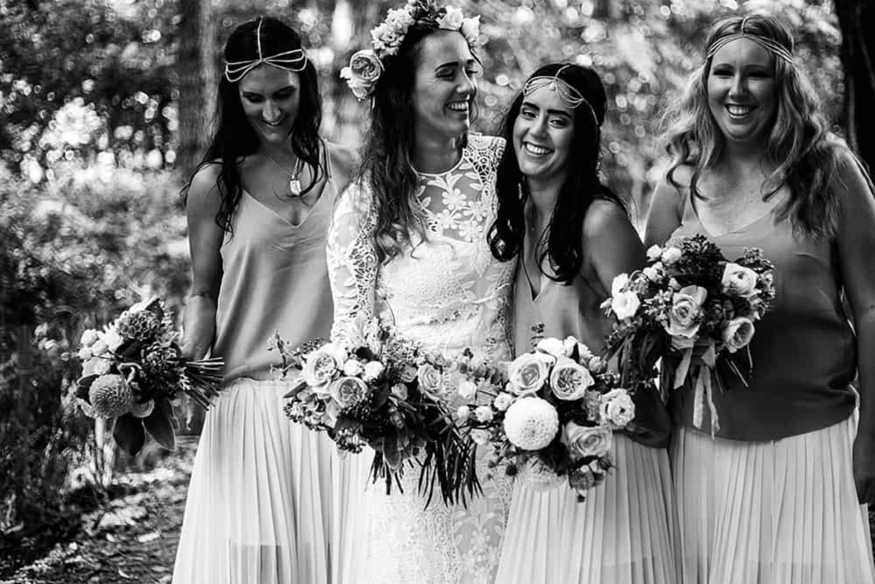 boho bride and bridesmaids