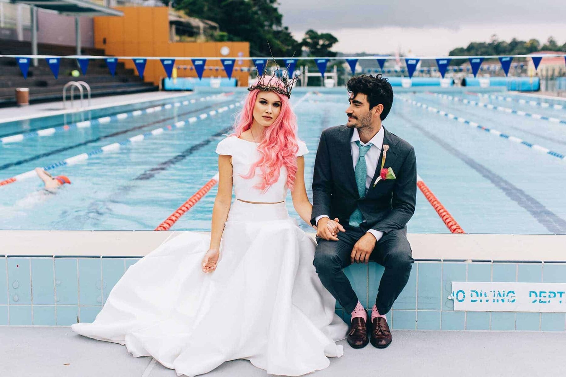 Sydney swimming pool wedding shoot - At Dusk Photography
