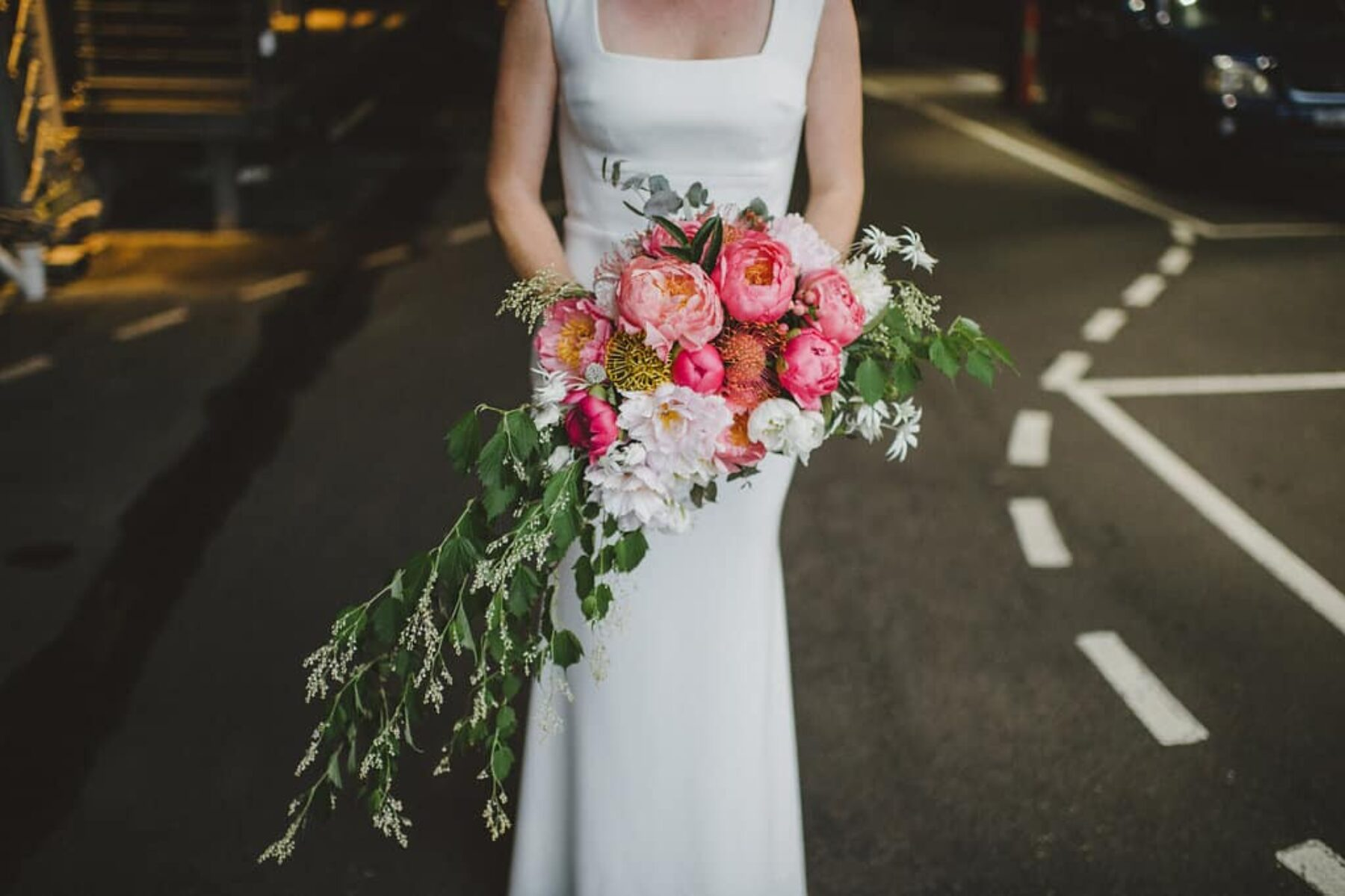 unstructured pink peony bouquet