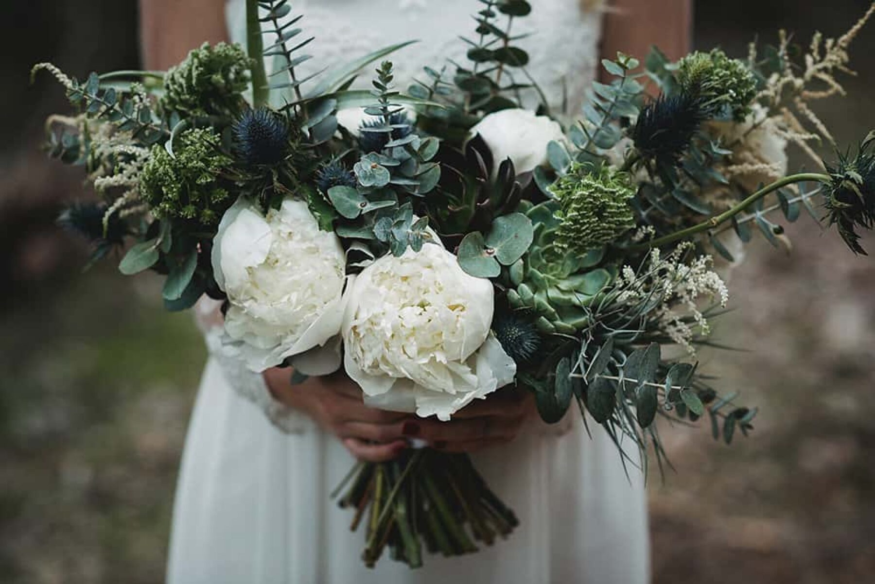unstructured green and white bouquet
