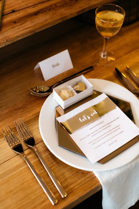 modern tablescape with gilded accents