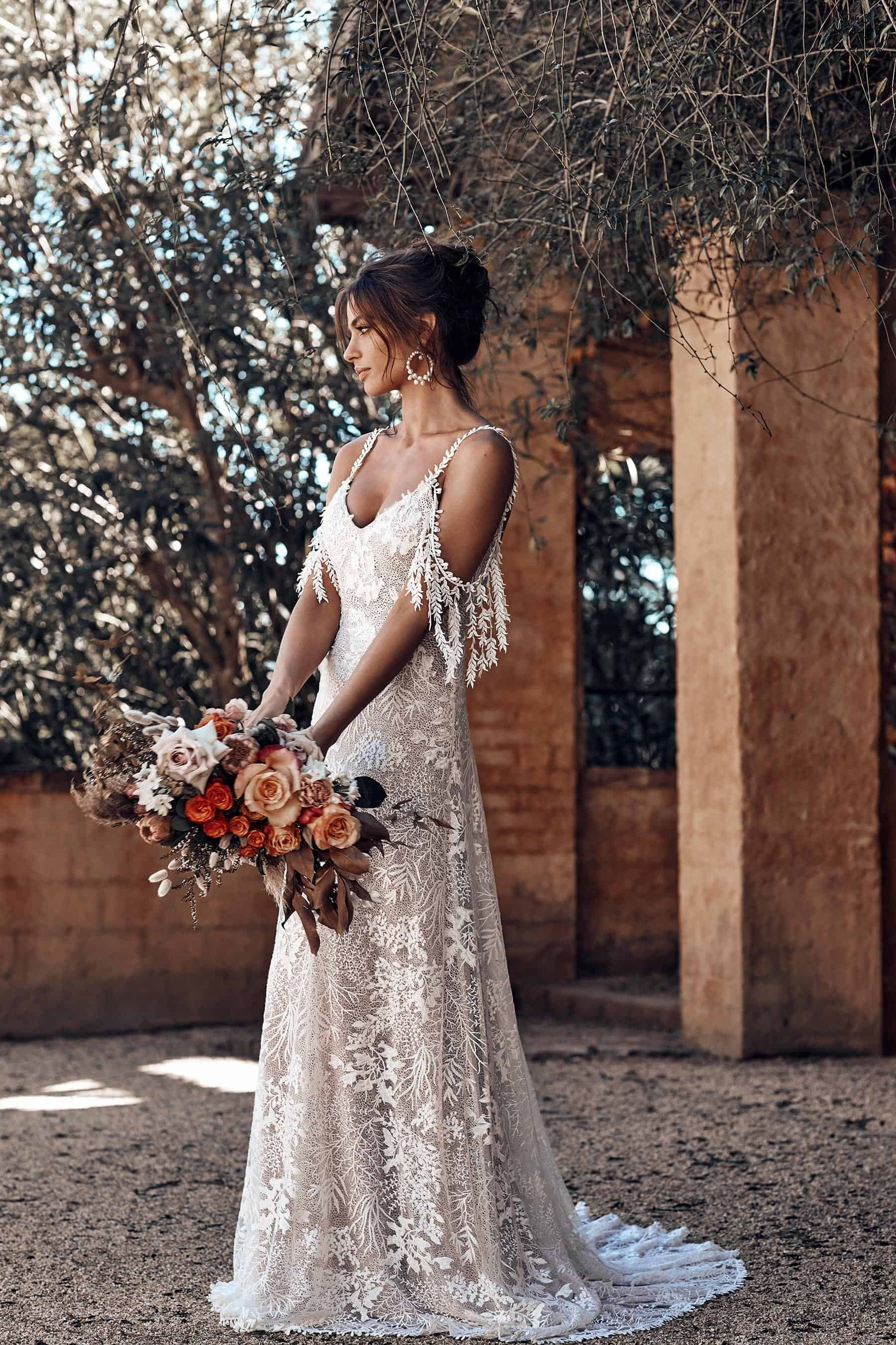 bohemian wedding dress with arm bands by Grace Loves Lace