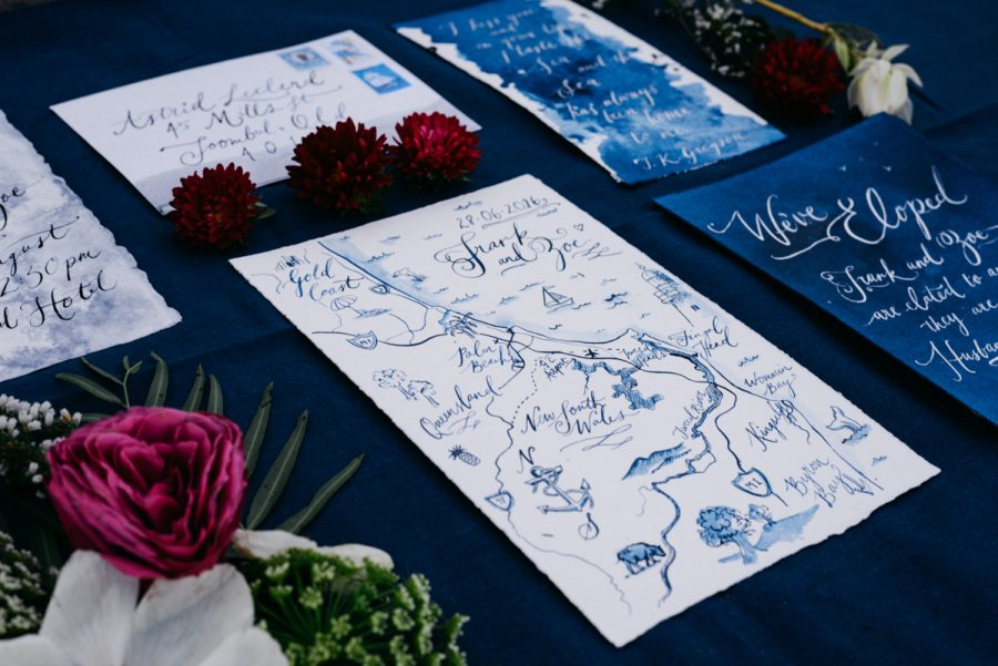 illustrated watercolour and calligraphy wedding invitaitons