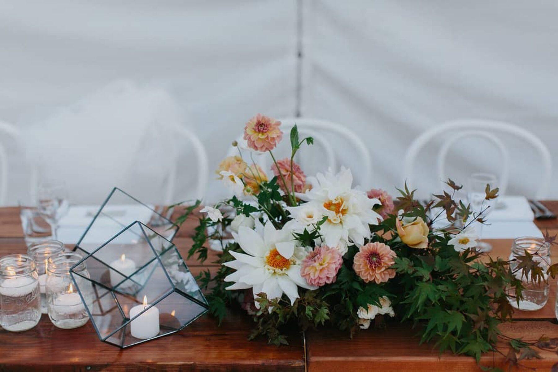 floral centrepiece of dahlias