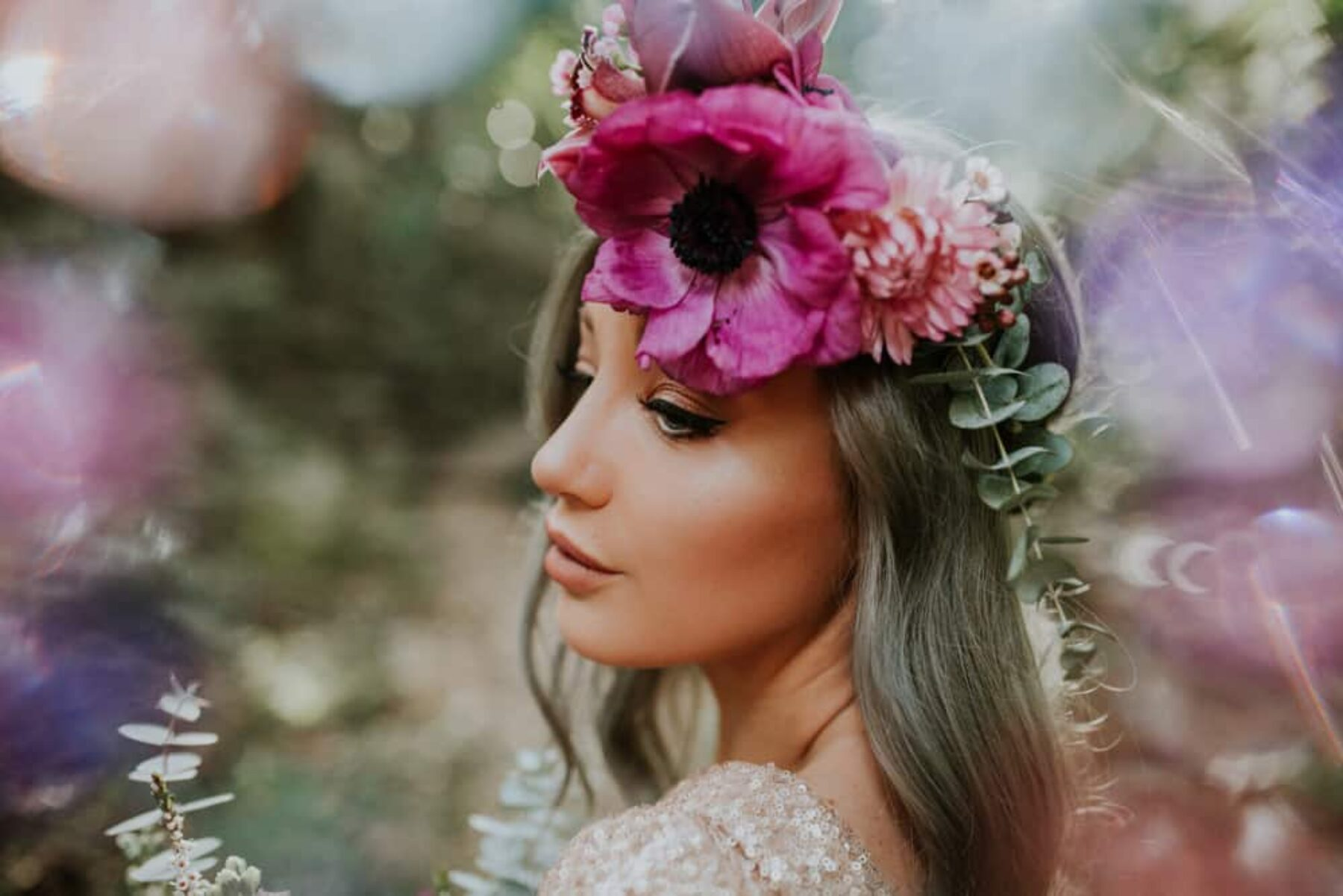 bold magenta flower crown