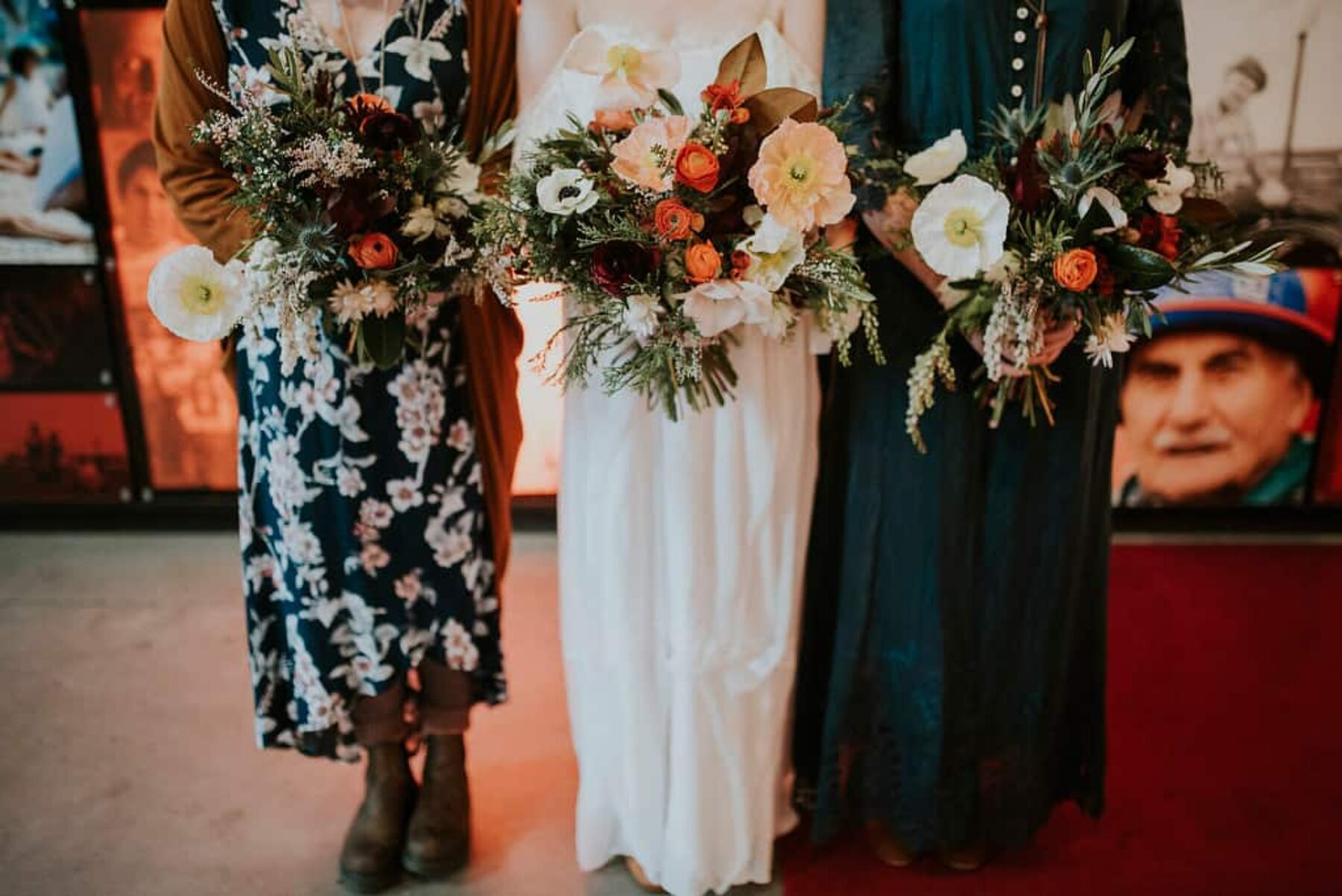 Moody bohemian wedding at Newcastle Museum - photography by Barefoot & Bearded